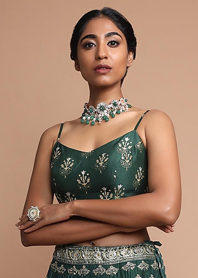 Emerald Green Lehenga With Foil Printed Buttis And Abstract Chandelier Motifs Online - Kalki Fashion