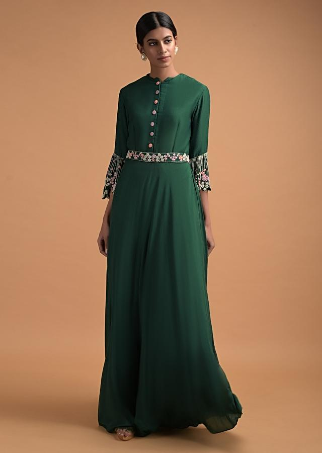 Emerald Green Long Dress With Bell Sleeves And Embellished Floral Pattern Online - Kalki Fashion