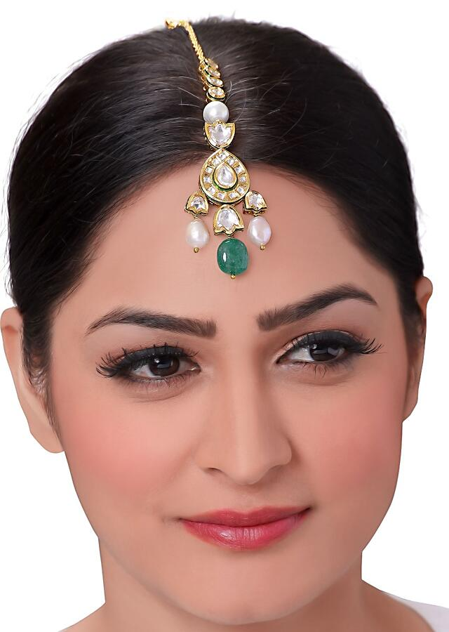 Emerald Green Maang Tikka With Pearls And Kundan Online - Joules By Radhika