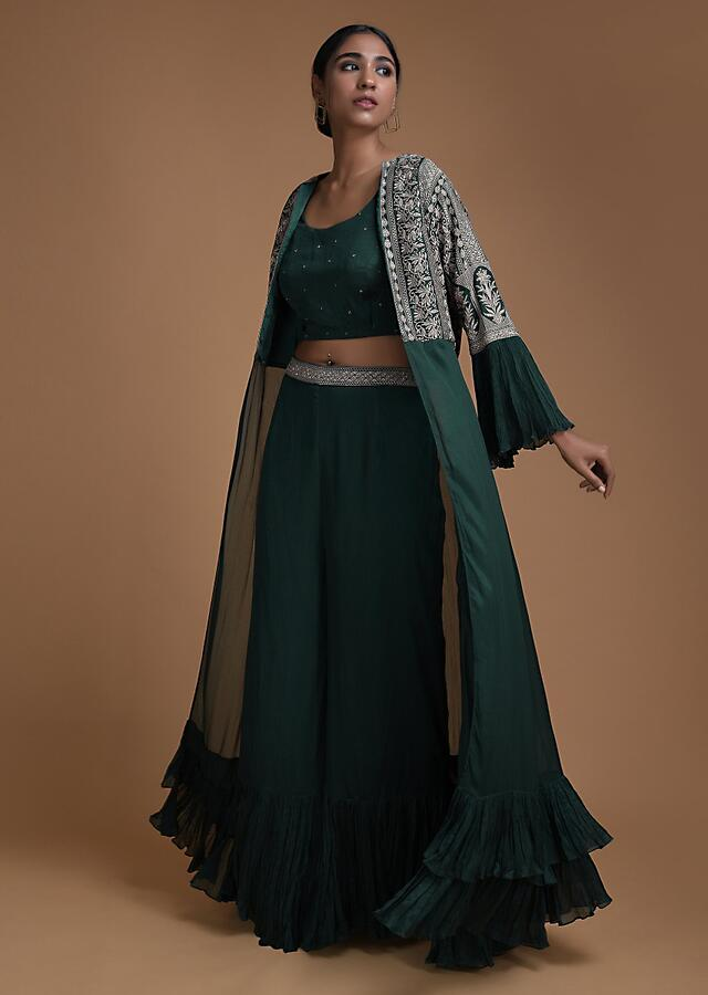 Emerald Green Palazzo And Crop Top Set With Embroidered Long Jacket Online - Kalki Fashion