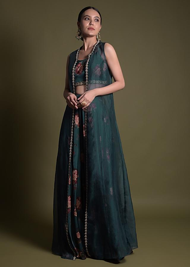 Emerald Green Palazzo Suit In Satin With Floral Print And Matching Organza Jacket Online - Kalki Fashion