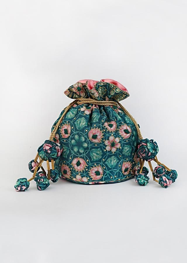 Emerald Green Potli Bag With Floral Print And Highlighted With French Knots, Sequins And Zari By Vareli Bafna