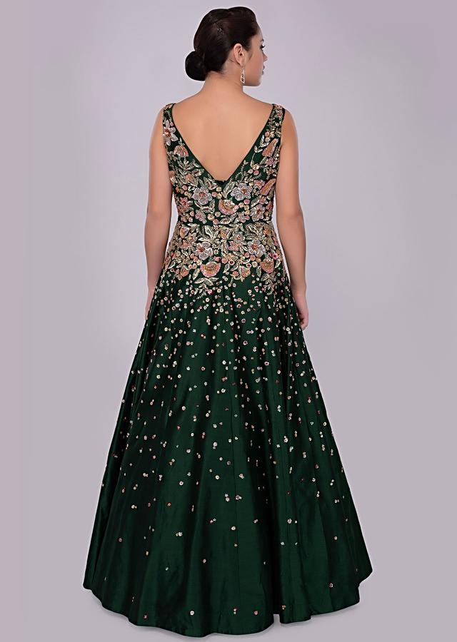 Emerald Green Gown In Raw Silk With Floral Embroidered Waist And Bodice Online - Kalki Fashion