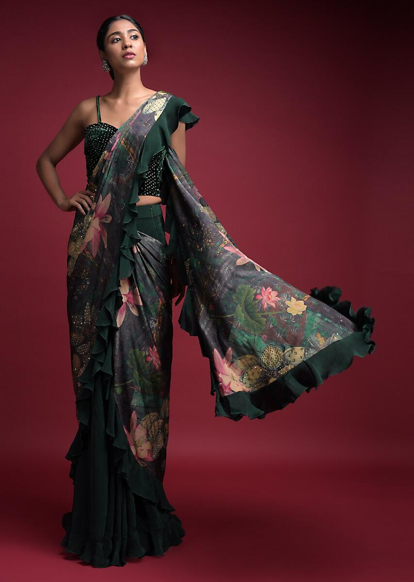 Emerald Green Ready Pleated Ruffle Saree In Crepe With Floral Printed Pallu