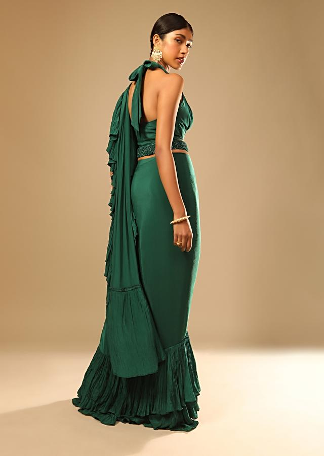 Emerald Green Ready Pleated Ruffle Saree With A Halter Neck Blouse And 3D Embroidered Belt Online - Kalki Fashion