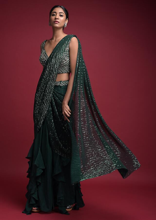 Emerald Green Ready Pleated Saree In Crepe With Cascade Frill On The Hemline Online - Kalki Fashion
