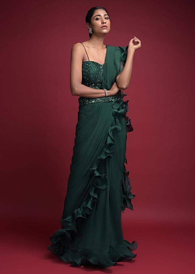 Emerald Green Ready Pleated Saree In Crepe With Organza Ruffle On The Border Online - Kalki Fashion