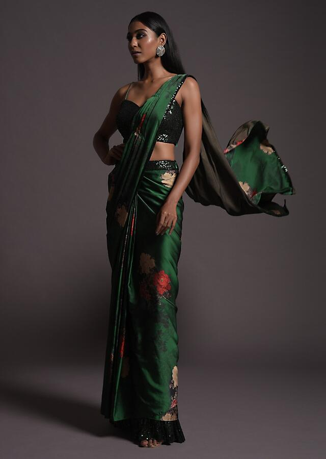 Emerald Green Ready Pleated Saree In Milano Satin With Floral Print And Sequin Frill On The Hem Online - Kalki Fashion