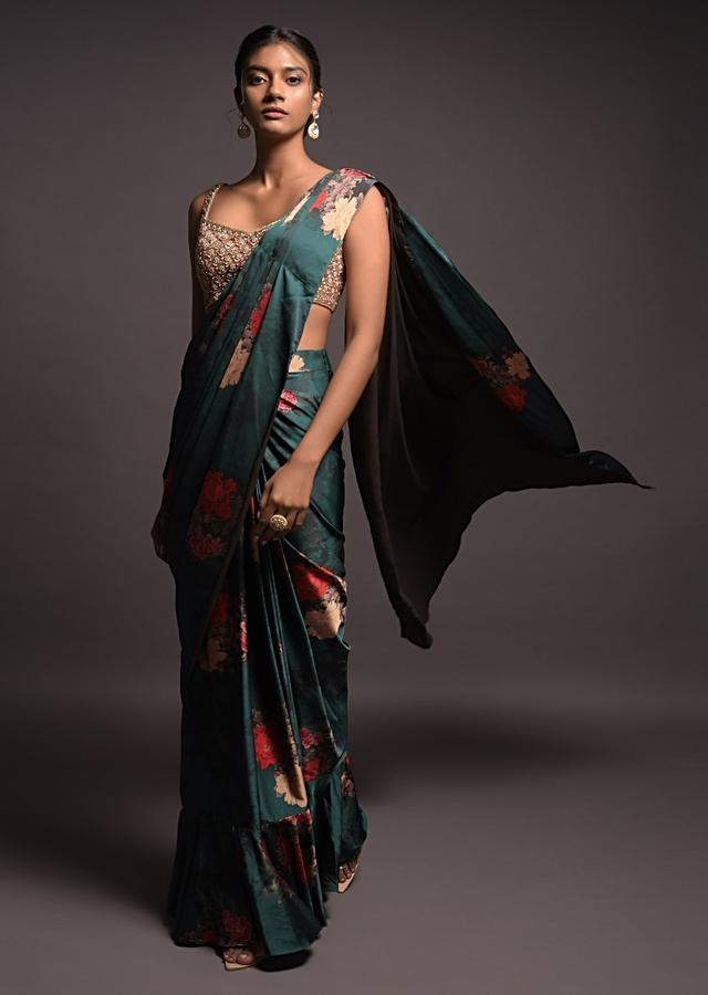 Emerald Green Ready Pleated Saree In Satin With Floral Print And Ruffle Layer On The Hem Online - Kalki Fashion