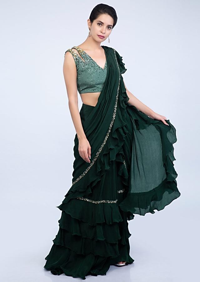 Emerald Green Ready Pleated Saree With Frilled Layers At The Hem And Pallo Online - Kalki Fashion