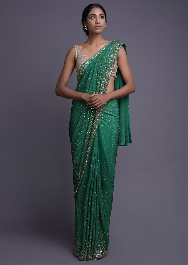 Emerald Green Saree In Chiffon With Golden Sequins And Kundan Work Online - Kalki Fashion