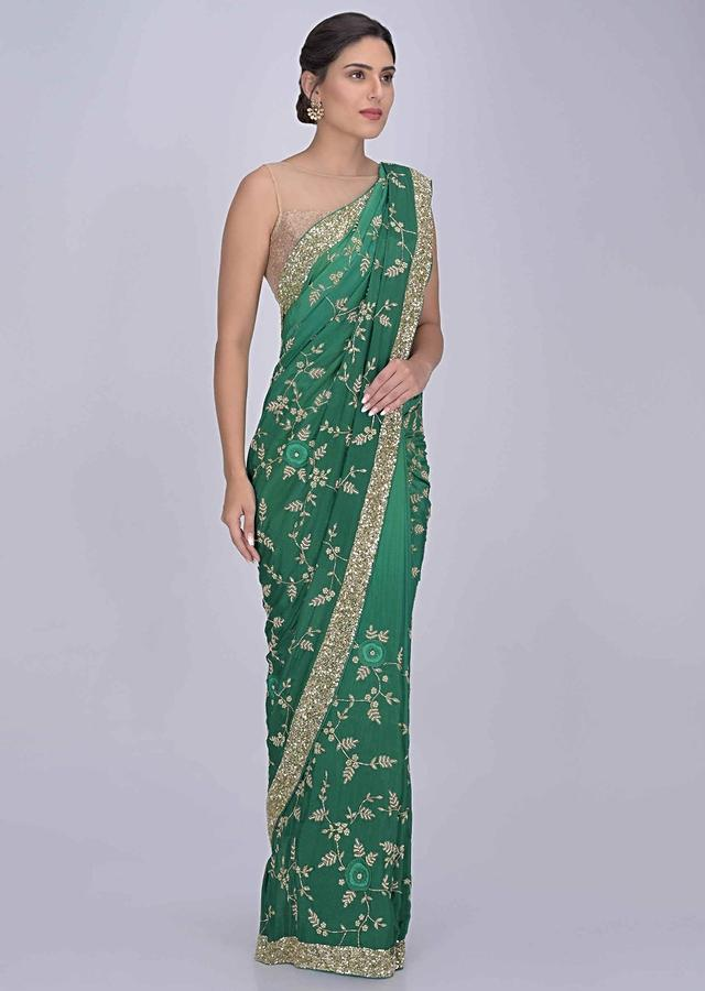 Emerald Green Saree In Chiffon With Ombre Effect Online - Kalki Fashion