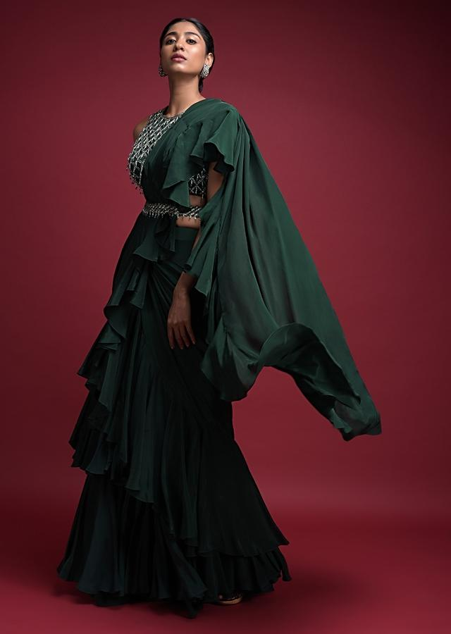 Emerald Green Saree In Crepe With Ruffled Pallu And Layered Ruffles On The Pleats Online - Kalki Fashion