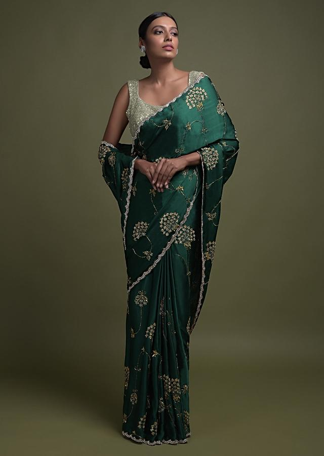 Emerald Green Saree In Satin With Zardozi And Sequins Embroidered Contemporary Floral Pattern Online - Kalki Fashion
