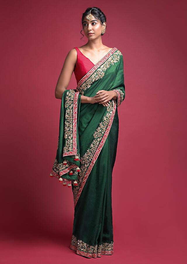 Emerald Green Saree In Silk With An Embellished Red Border Online - Kalki Fashion