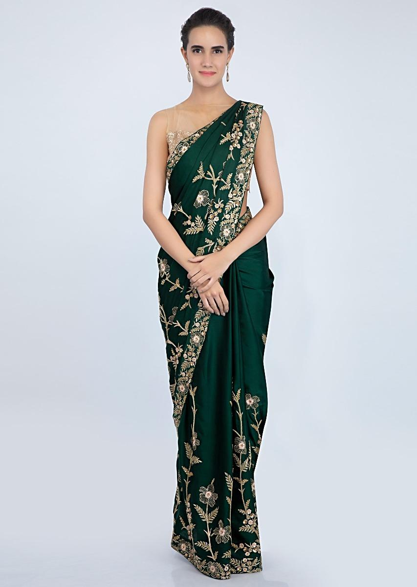 4e6033d70ad Emerald green satin blouse with in heavy floral embroidery only on kalki