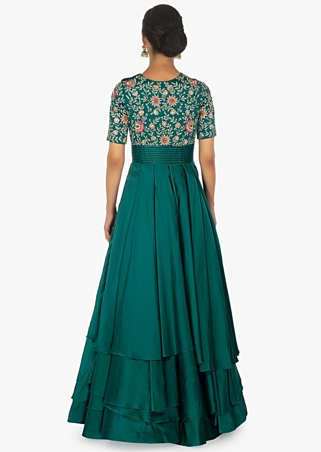 Emerald Green Layered Gown In Satin With Bodice In Resham Thread Embroidery Online - Kalki Fashion