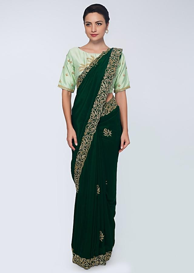Emerald Green Saree In Satin Embellished With Cut Dana Embroidered Butti And Border Online - Kalki Fashion