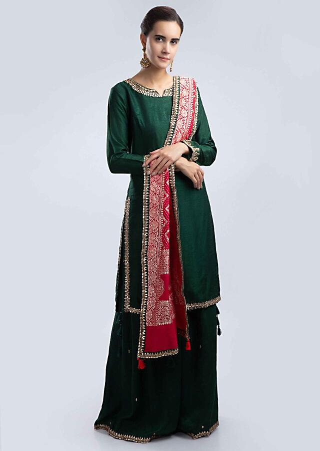 Emerald Green Sharara Suit Set With Red Brocade Dupatta Online - Kalki Fashion