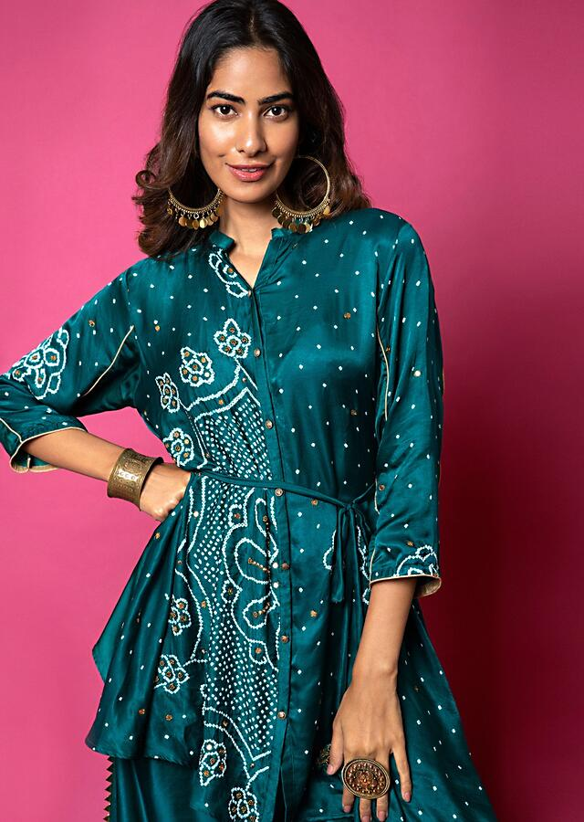 Emerald Green Shirt And Palazzo Set With Mandala Bandhani Print And Hand Embroidered Using Antique Sequins And Beads Online - Kalki Fashion