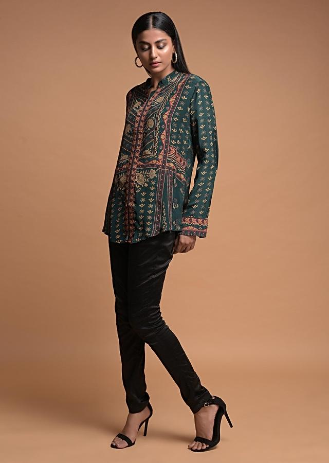 Emerald Green Short Kurti In Crepe With Floral And Tribal Print Online - Kalki Fashion