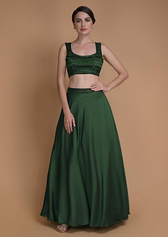 Emerald Green Skirt And Crop Top With Cut Dana Work And Organza Jacket Online - Kalki Fashion