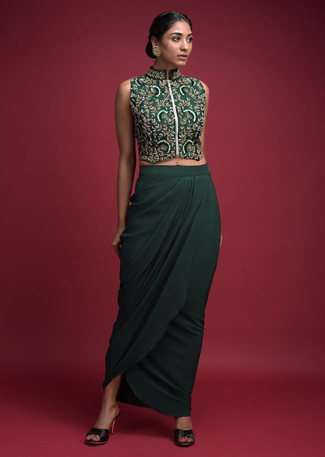 Emerald Green Skirt In Crepe With Cowl Drape And Matching Jaal Embroidered Crop Top Online - Kalki Fashion