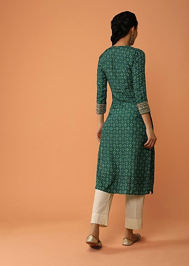 Emerald Green Straight Cut Kurti In Cotton With Bandhani Print All Over Along With Zari And Sequins Detailing Online - Kalki Fashion