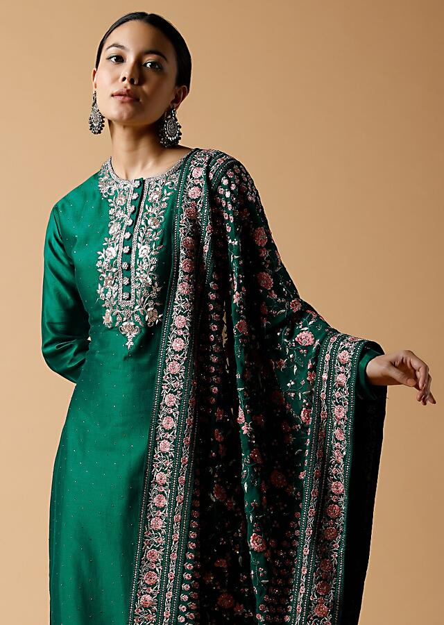 Emerald Green Straight Cut Suit In Cotton Blend With Zardosi Work And Colorful Resham Embroidered Dupatta Online - Kalki Fashion