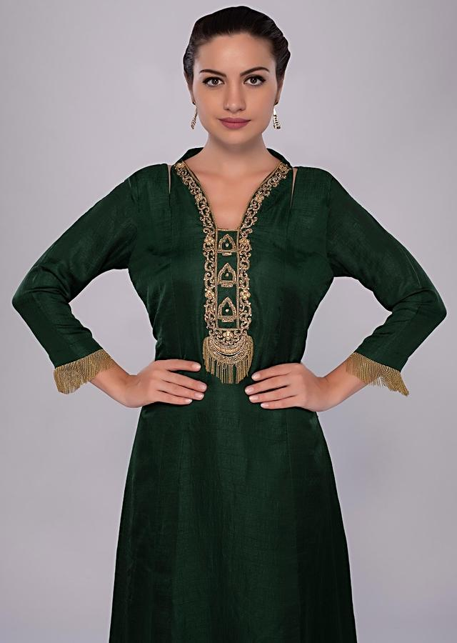Emerald Green Tunic Dress With Embroidered Neck And Placket Online - Kalki Fashion