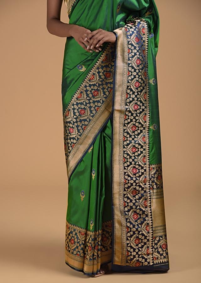 Emerald Green Two Toned Pure Handloom Saree In Silk With Woven Buttis And Intricate Indigo Border Online - Kalki Fashion
