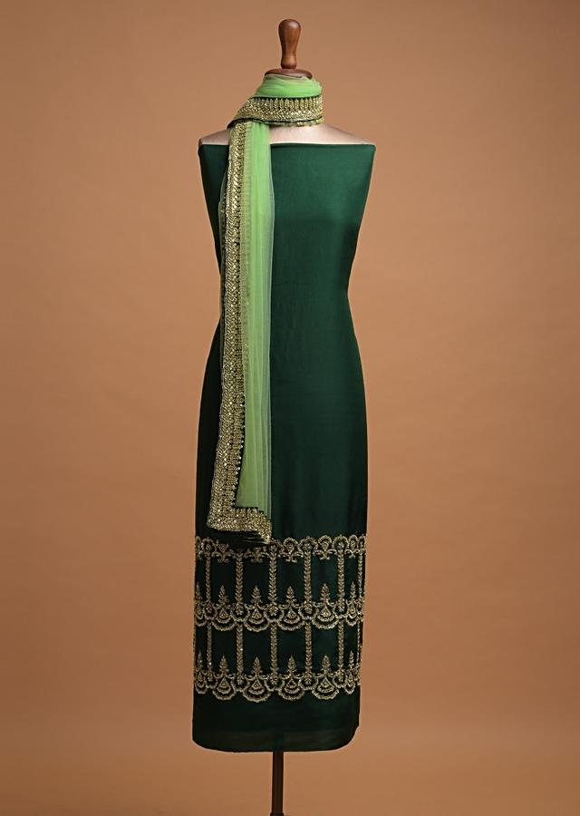 Emerald Green Unstitched Suit In Silk Blend With Sequins And Beads Embroidered Ethnic Pattern Online - Kalki Fashion
