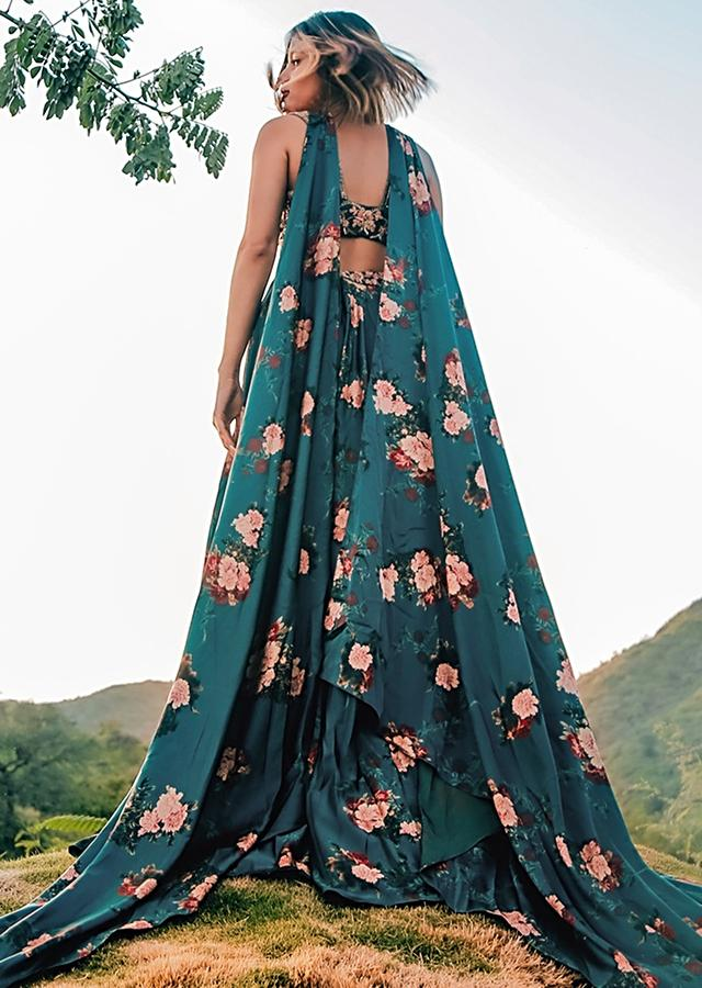 Emerald Green Lehenga In Milano Satin With Floral Print And Embellished Crop Top  Online - Kalki Fashion