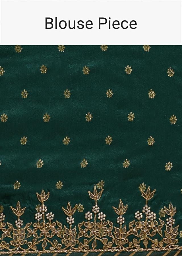 Emerald Green Saree In Georgette With Bandhani Print And Weaved Jaal Work Online Kalki Fashion