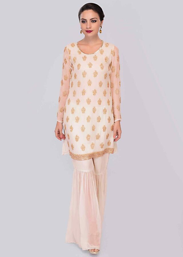 English Peach Sharara Suit Set With Cut Dana And Sequins Embroidered Butti Online - Kalki Fashion
