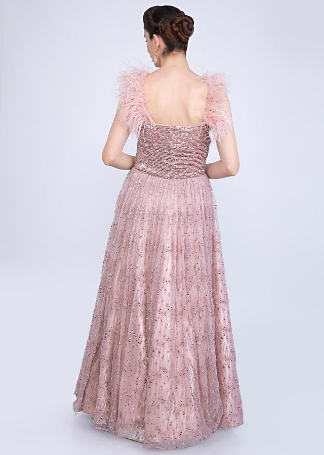 English Pink Feather Strap Gown With Moti And Sequins Embellishment Only On Kalki Online - Kalki Fashion