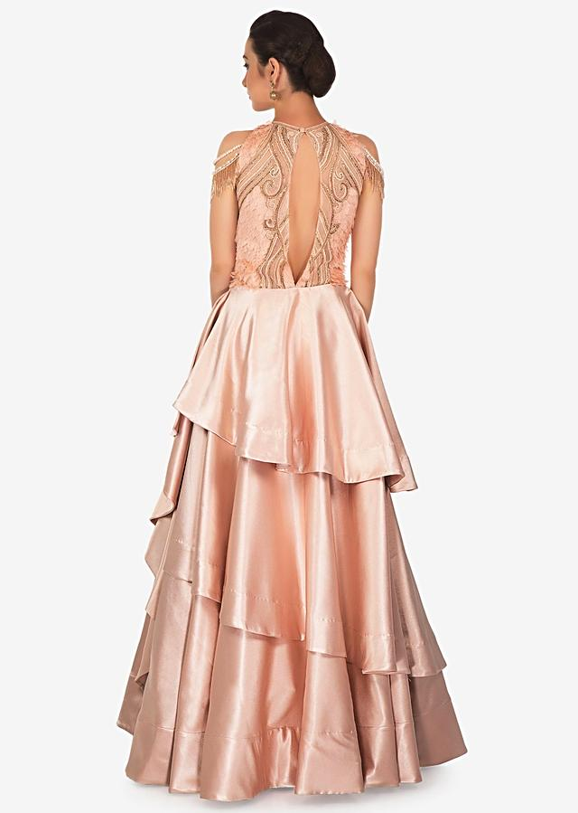 English peach gown with applique embroidered bodice only on Kalki