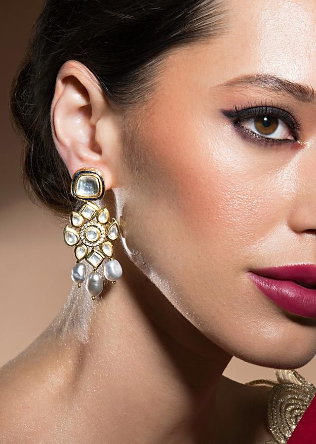 Enigmatic Kundan Polki Earrings In Floral Motif With Stunning Baroque Pearls And Dazzling Quartz Online - Joules By Radhika