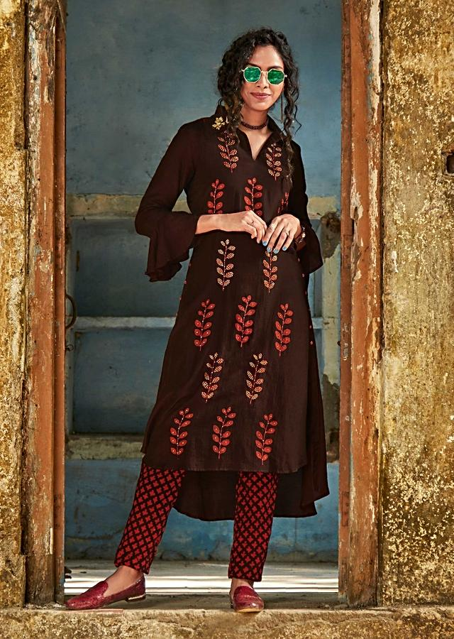 Espresso Brown A Line Suit In Cotton With Batik Printed Buttis In Leaf Motifs Online - Kalki Fashion