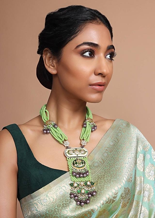 Ethnic Necklace With Strings Of Green Beads, Polki And Minakari Along With Contrasting Bead Accents By Kohar