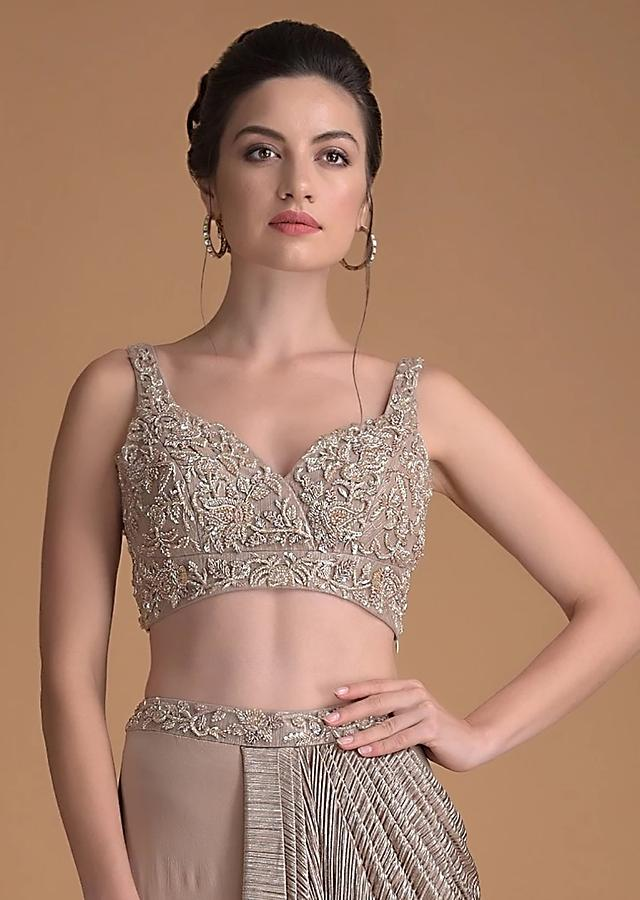 Eve Champagne Blouse With Cut Dana And Zardosi Embroidered Jaal Work And Sweetheart Neckline Online - Kalki Fashion