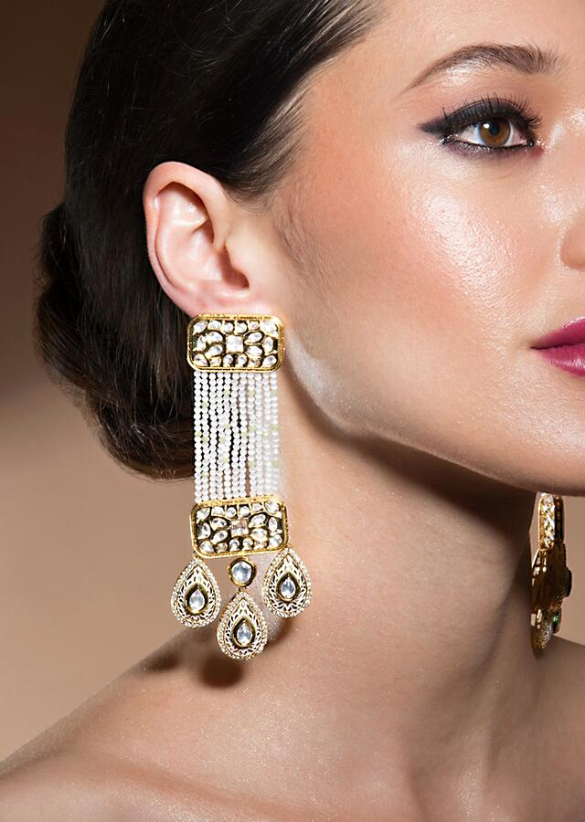 Exquisite Kundan Earrings With Gold Enamelling Along With Quartz And Baroque Pearls Strings Online - Joules By Radhika