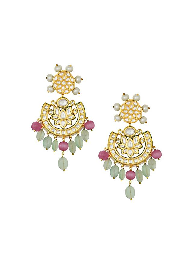 Exquisite Kundan Polki Earrings In Crescent And Floral Shape With Shell Pearls Online - Joules By Radhika
