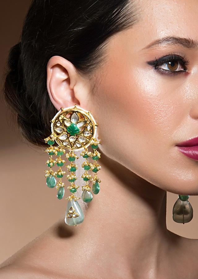 Exquisite Kundan Polki Earrings With Fluoride And Shell Pearls Fringes Online - Joules By Radhika