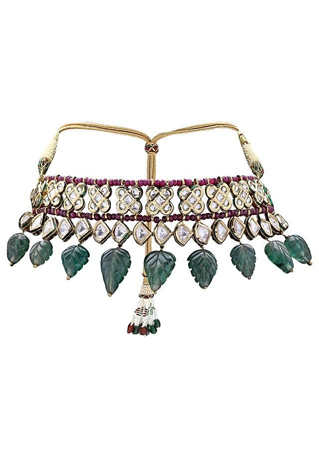 Extravagant Bridal Earring And Choker Set With Red And Green Semi Precious Stones And Kundan Online - Joules By Radhika
