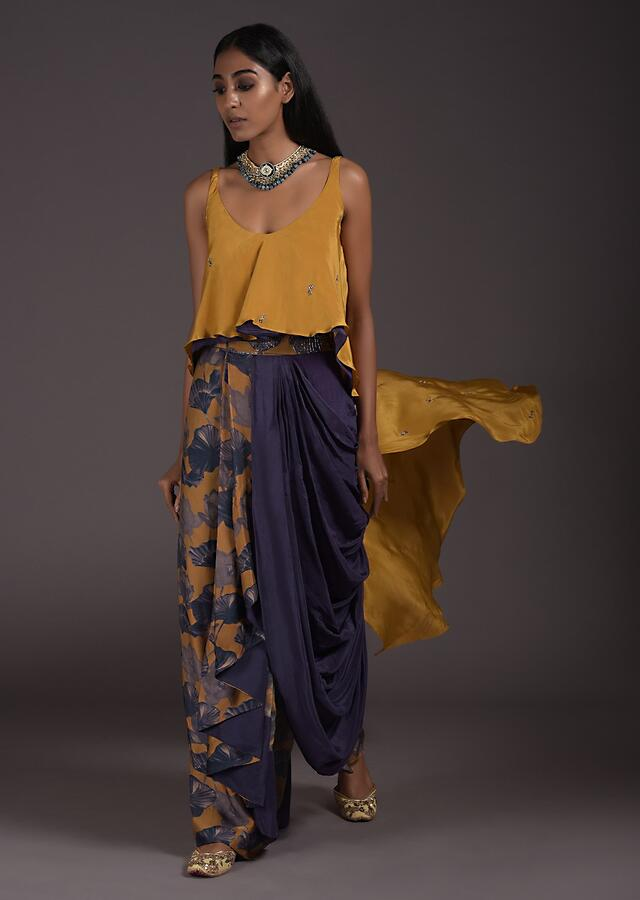 Fancy Cowl Draped Dhoti Skirt With Floral Print And Mustard High Low Top Online - Kalki Fashion