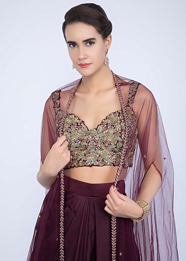 Mahogany Skirt With Fancy Drape And Heavily Embellished Crop Top With Matching Net Dupatta Online - Kalki Fashion