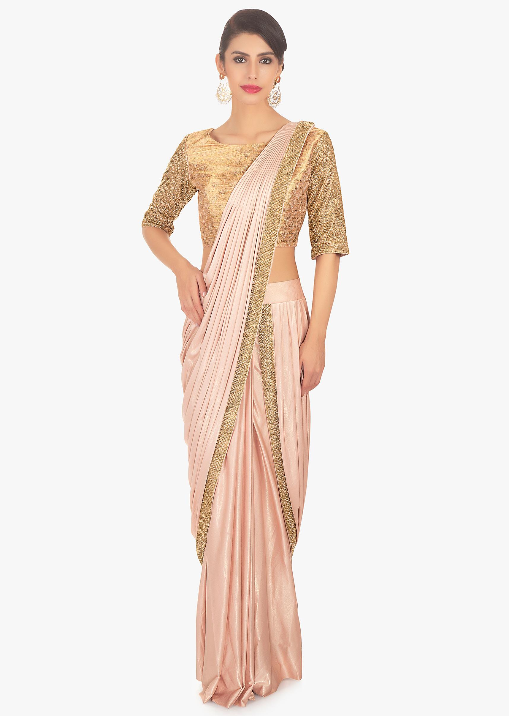 ef19708601c Fancy fabric peach blouse with lycra saree skirt in ready plated pre  stitched pallo only on KalkiMore Detail
