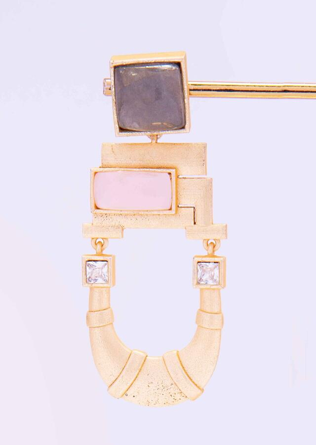 Fancy Metal Coated Earring With Pink And Sage Green Semi Precious Stone Online - Kalki Fashion