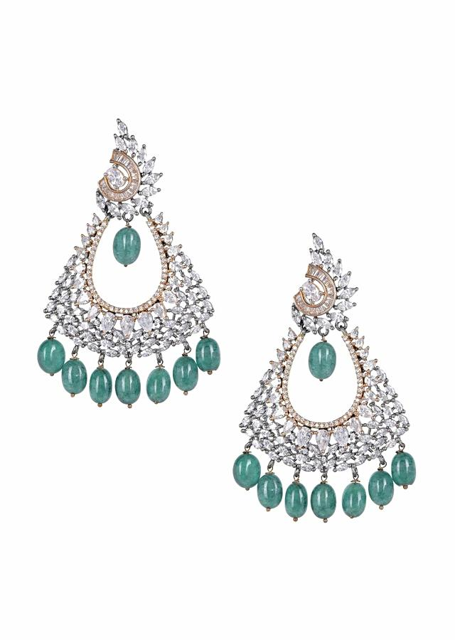 Fancy triangular earrings with crystals, bugle beads, stones and green beads only on Kalki